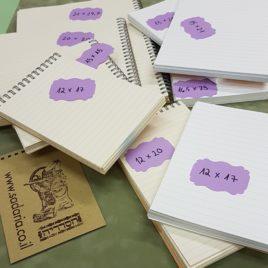 בלוק ספירלה- דפי שורה בכריכת ספירלה במגוון מידות נייר קרם או שנהב משקל 80 גרם או 120 גרם