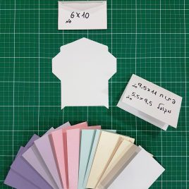 """מארז 12 מעטפות בגודל 6X10 ס""""מ +12 בסיסי כרטיסי ברכה עם קו שקע לקיפול להרכבה עצמית"""