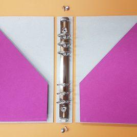 """קיט מושלם- אוגדן לפלנר  15X21 ס""""מ A5 , ציפבורד עם פינות מעוגלות ,2 כיסים, מנגנון 6 טבעות, בד לכריכת השדרה ,ניירות מעוצבים"""