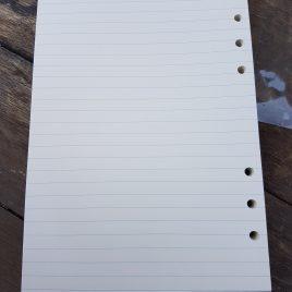 """50 דפי שורה לפלנר בגודל – 15X21ס""""מ  A5 – עם 6 חורים נייר גוון שנהב  איכותי 110 גרם"""