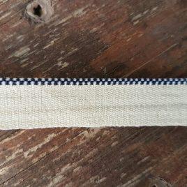 """קפיטל לכריכה קשה-  בד כותנה גוון כחול כהה/לבן אורך 50 ס""""מ"""