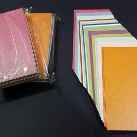 """מארז  55 כרטיסיות נייר שימר ( פנינה ), NEENAH  בגוונים שונים ,280 גרם ,  3.2X6 אינץ  (8X15 ס""""מ)"""