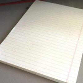 """100 דפי שורה נייר 80 גרם גוון קרם/שנהב, גודל 15X21 ס""""מ- A5"""